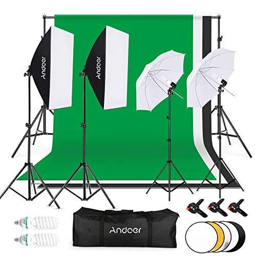 Andoer Studio Fotografico Kit di Illuminazione, 1.8mx 2.8m/6x 9ft con Sistema di Supporto per Sfondo, 135W 5500K Ombrello, Softbox, Softbox kits 5in1 Reflector for Photo Studio, Fotografia , Video