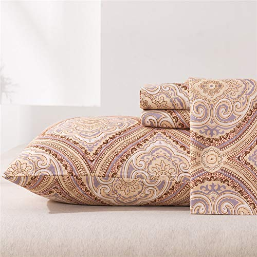 MEISHANG Paisley Sheets Twin Printed BedSheets Ultra Soft 100% Microfiber-Deep Pocket Fitted Sheet+Flat Sheet+Pillowcase-3 Pieces Brown Twin