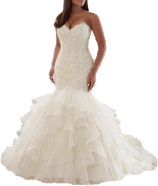 DKBridal Women's Sweetheart Ruffles Mermaid Wedding Dress 2016 Organza Bridal Gown