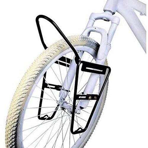 新しい自転車フロントキャリアラック、屋外高強度アルミ合金フロントパニエラック10 KG容量ブラック、自転車貨物用