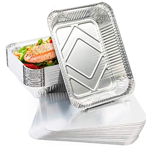 Guizu Bandejas de Aluminio Desechables,1900ML Capacidad,Recipiente Aluminio Ideal para Hornear, Asar, cocinar, almacenar Alimentos y más, Hornear Barbacoa al Aire Libre Familiar(10 Pack)