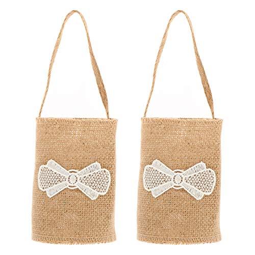 ABOOFAN 2 cestas pastorales para bodas, cestas de flores, pétalos de lino,...