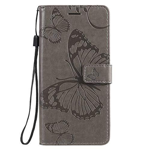 DENDICO Funda Xiaomi Mi 9 Lite/Mi A3 Lite/Mi CC9, de piel tipo cartera, funda para Xiaomi Mi 9 Lite / A3 Lite/Mi CC9 Funda tipo libro con función de apoyo y tarjetero – Gris