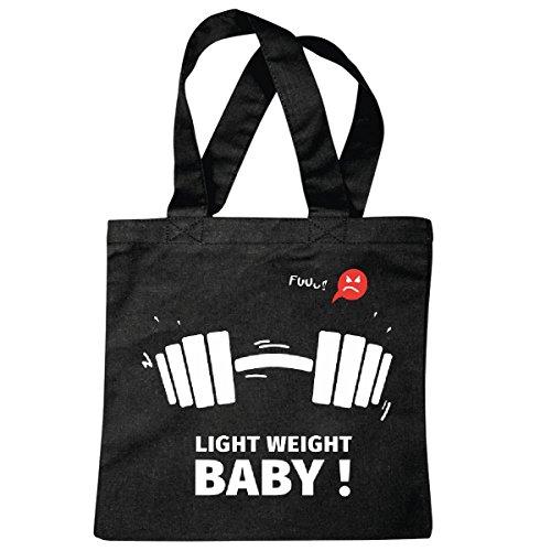 Tasche Umhängetasche Bodybuilding - Gewichtheben - Gym - Kraftsport - Handel Stange - Gewichte - Muskeln - Bizeps - Trizeps - Body Index Einkaufstasche Schulbeutel Turnbeutel in Schwarz