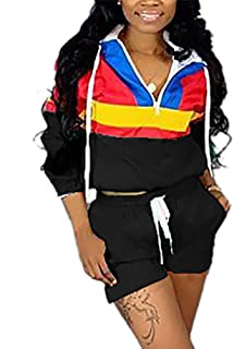 VOIKERDR Women 2 Piece Outfits Tracksuit Jumpsuits Lightweight Windbreaker Pullover Jacket Crop Top Pants Set