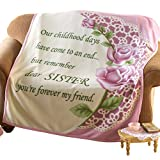Collections Etc Special Sister Rose Fleece Throw Blanket Standard