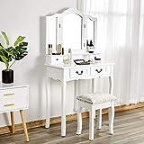 Iglobalbuy Tocador, Escritorio de Maquillaje con Taburete, Mesa de cosmética Blanca con Espejo para el Dormitorio (BDT2114)