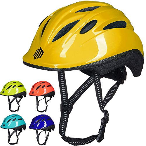 ILM Kids Youth Bike Helmet Toddler Bicycle Cycling Helmet with Adjustable Dial for Boys and Girls (Yellow, Small/Medium)