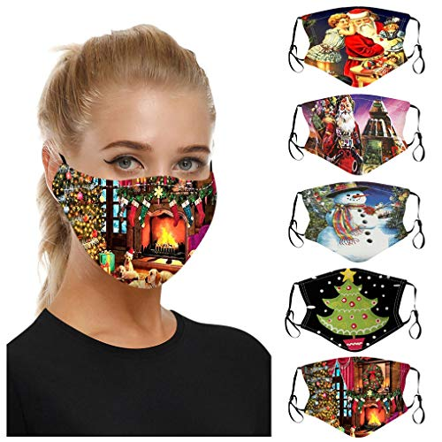 5PC Christmas Print Fashionable Face_Mask for Adult with Reusable Washable Mouth Protection for Women Men (08)