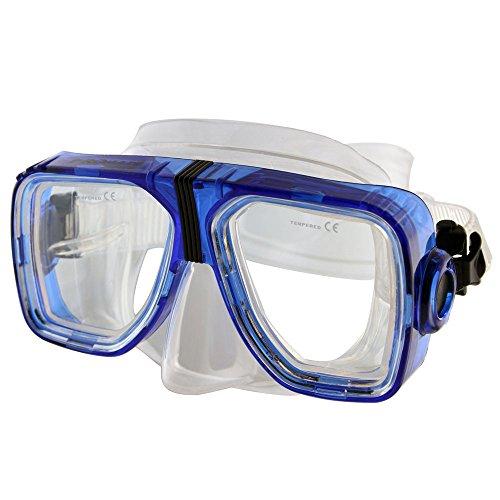 Promate Optical Corrective Scuba Snorkeling Mask, Trans. Blue, Nearsight-3.0