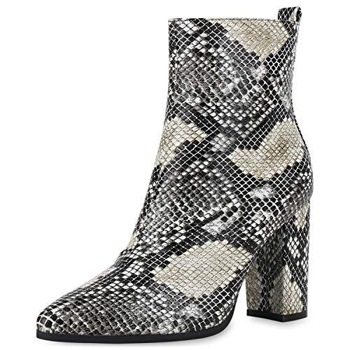 SCARPE VITA Damen Klassische Stiefeletten Leicht Gefütterte High Heels Boots Blockabsatz Schuhe Modische 186369 Schwarz Beige Snake 38