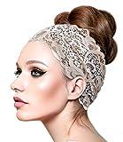 Beige Vintage Lace Headband Super Wide Floral...