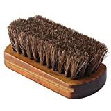 Driak 1Pcs Professional Wooden Handle Horsehair Bristles Hair Brush leather Boot Shoes Polishing Brush Solid Wood Car Cleaning Brush