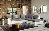 tendencio Canapé d'angle TANOS Design avec Assise en Tissu et Contour en Simili Cuir (Angle Droit, Gris et Blanc)