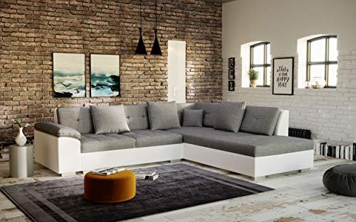 Canapé d'angle Blanc Tissu Moderne