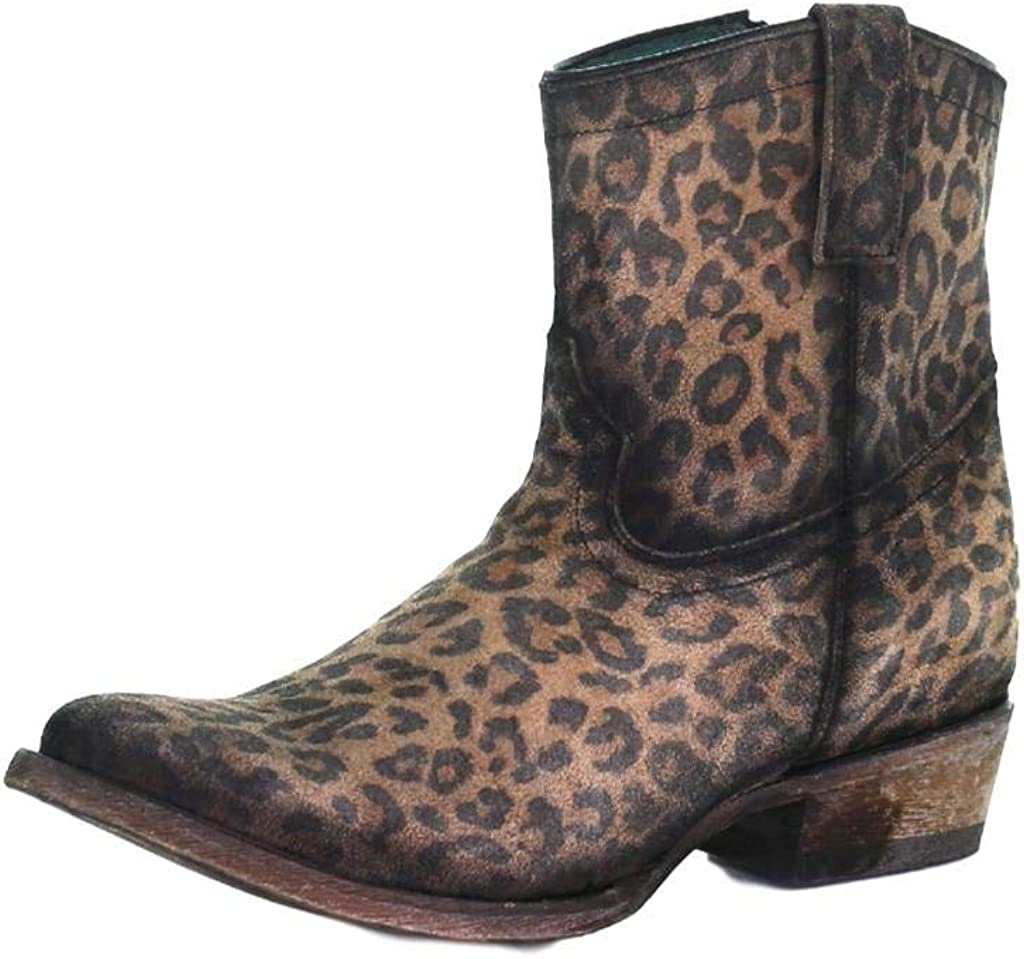 CORRAL womens Popular product C3627 Cheetah Price reduction Toe Cowboy Booties Round