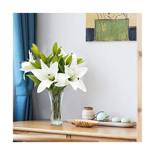 NAHUAA 4Pcs Flores Artificiales Flores Falsas Lirio Artificial Ramos de Novia Blanco Interior al Aire Libre Hogar Cocina…
