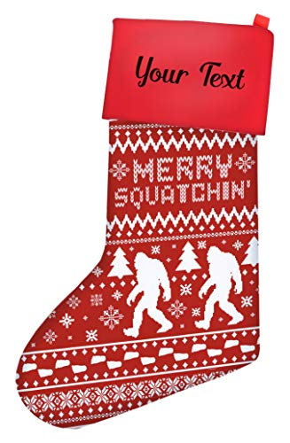 Funny Christmas Stockings for Kids Sasquatch Squatchin' Ugly Christmas Sweater Themed Pattern Christmas Stockings for Secret Santa Nerdy Gifts for Christmas Stocking Red