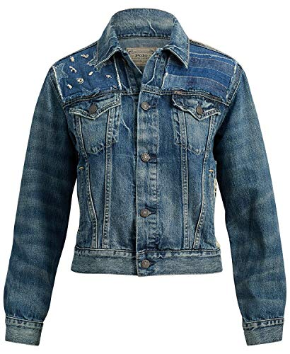 Polo Ralph Lauren Patchwork Denim Trucker Jacket (Blue, Medium)
