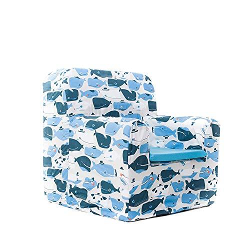 SLEEPAA Sillon bebe azul 1-4 años Desenfundable Lavable Resistente Seguro Ligero Cómodo Decoracion muebles niños Fabricado en España 40x40x42 cm (Happy Whales)