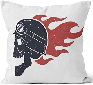 Born for Speed Ride or die Rider Skull in Helmet Fire Design Element for Poster Throw Pillow Cushion Cover,HD Printing Decorative Square Accent Pillow Case,28