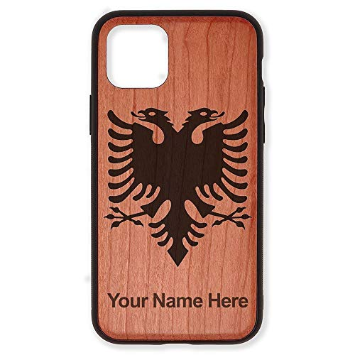 Case Compatible with iPhone 11 Pro, Flag of Albania, Personalized Engraving Included (Cherry Wood)