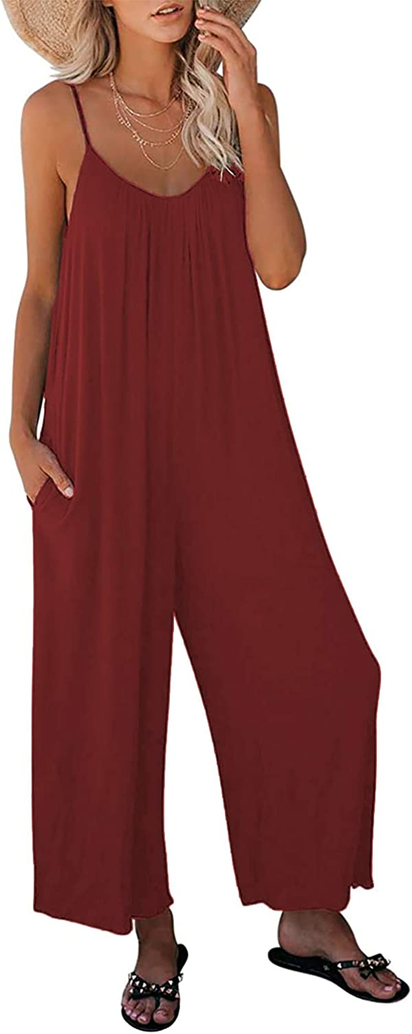 Nirovien Womens Oversized Sleeveless Jumpsuits Spaghetti Strap Wide Leg Rompers with Pocket One Piece Jumper