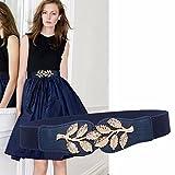 SAIBANGZI Cinturones de Mujer Vestidos Primavera Verano Adorno apretar la Correa elástica Cintura Mujer Azul Profundo L