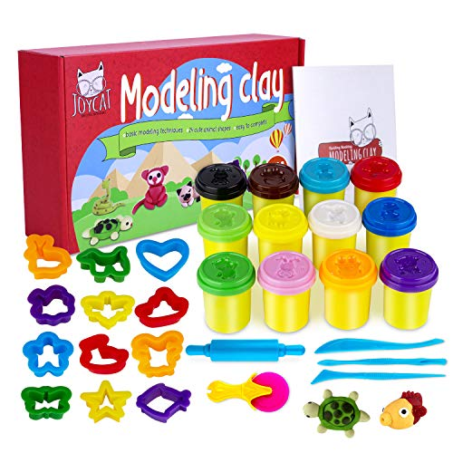 Modeling Clay Kits for Kids, Plasticine Creative Kids Air Dry Clay Modeling Crafts Sets 12 Colors DIY Magic Clay with Tools 12 Animal Shapes Cutter 5 Modeling Tools Toddler Toys for Girls Boys