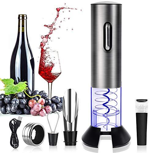 Rovtop Elektrischer Korkenzieher Edelstahl Automatischer Weinflaschenöffner Set mit Folienschneider