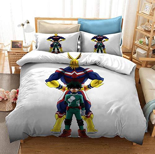 Hero Academia 3D Comics Juego de ropa de cama con funda nórdica para niños para niños, jóvenes, suave, cómodo, transpirable, funda nórdica, cama individual, juego de cama doble-C_210x210cm (3pcs)