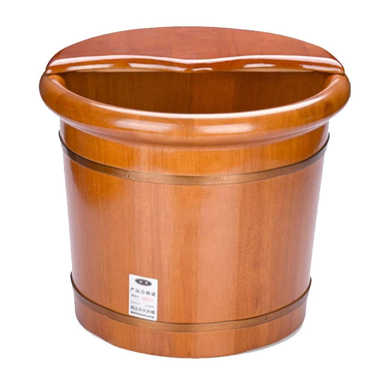 一月支配的時期尚早マッサージクッション マッサージフットバスバレル 家庭用フットウォッシュバレル 35cmフットバス浴槽 オークフットバス 木製フットトリートメント ボトム全体リリーフ指圧 (Color : Brown, Size : 41x35cm)