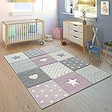 Paco Home Alfombra Infantil A Cuadros Corazones Estrellas Tamaños, tamaño:80x150 cm,...