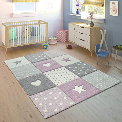 Paco Home Alfombra Infantil A Cuadros Corazones Estrellas Tamaños, tamaño:80x150 cm, Color:Púrpura