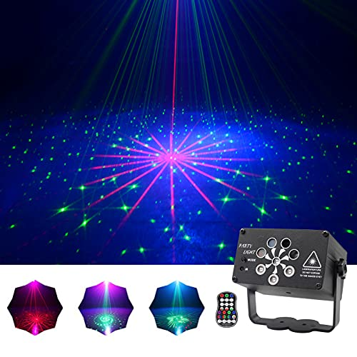COCO FUN Laser Party Lights, Mini Portable Cordless Laser Lights Rechargeable RGB 240 Patterns Stage Lights Projector for Christmas Halloween Decorations Gift Birthday Disco Live Show Karaoke KTV Bar