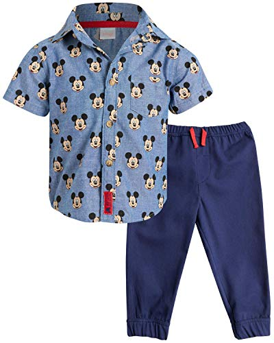Disney Baby Boys' Infant Mickey Mouse 2-Piece Woven Pant Set, Size 12 Months, Mickey Navy Print'