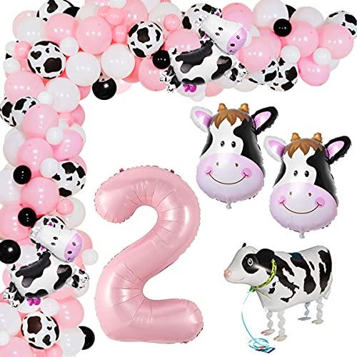 Suministros para fiesta de cumpleaños de vaca para niña, globos temáticos de animales de granja, kit de guirnalda de arco, decoración de fiesta, animales de granja y cabeza de vaca