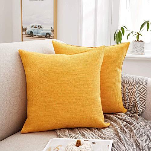 Eageroo 45 x 45 cm, juego de 2 fundas de cojín decorativas para el salón, color amarillo, 45 x 45 cm
