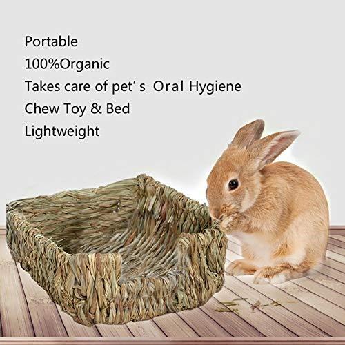 CBVG Kleines gewebtes Gras Hamster Nest Haustier Kaninchen Hamster Käfig Haus Kauen Spielzeug Meerschweinchen Ratte Igel Chinchilla Bett Meerschweinchen Haus, Dunkelbraun, 18x23x8