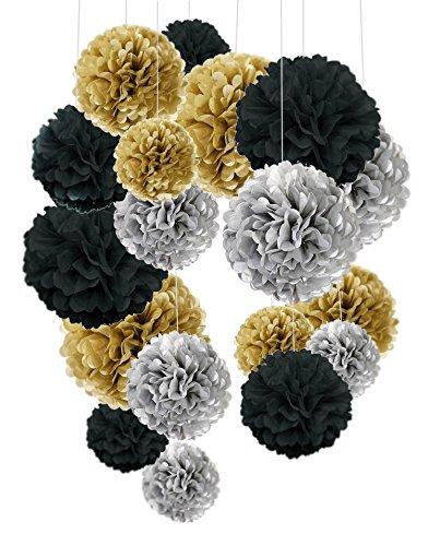 Cocodeko 18 Pezzi Pompon in Carta Velina Decorativo Palla Fiore per il Compleanno Decorazione Della Festa Nuziale - Nero, Argento e Oro