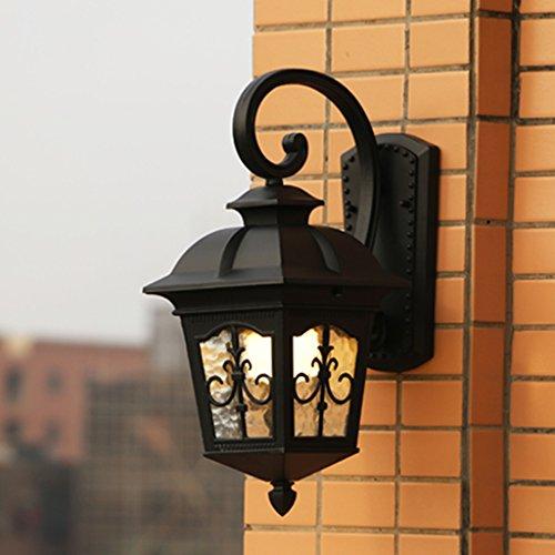 American Retro Style Aluminium Extérieur Mur Lampe Balcon Jardin Couloir Étanche Anti-rouille Applique Murale Extérieure Lampes, Verre Abat-Jour, E27 (Color : Black)