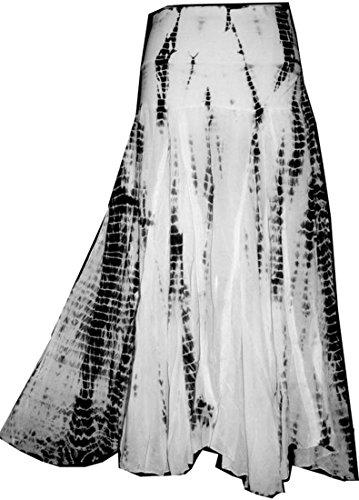 Agan Traders 61 SK Cotton Tie Dye Summer Skirt (2X/3X, Black White)