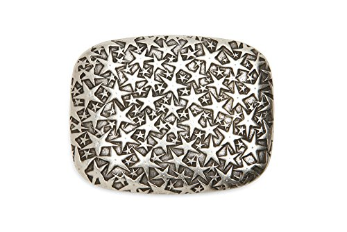 VaModa Gürtelschließe Wechselschließe Gürtelschnalle Buckle Modell 'Stardust', Silber, 8x6cm