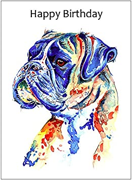 Home Garden Greeting Cards Invitations White Boxer Dog Greeting Note Party Invite Thank You Birthday Anniversary Cards
