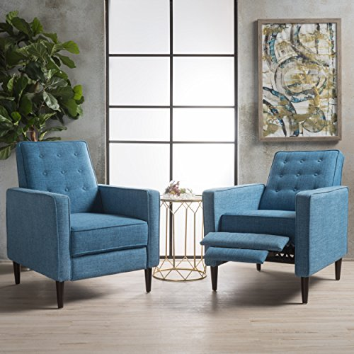 Christopher Knight Home Marston Mid Century Modern Fabric Recliner (Set of 2) (Muted Blue)