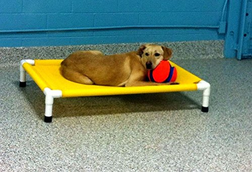 Dianes K9 Creations Inc. Large Mesh Cot, Indoor Outdoor Portable Dog Bed, Mildew Resistant Pet Bed, Sunlight and Stain Resistant Handmade Raised Bed Yellow, Size 32'x44'x8'