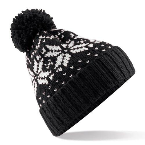 Beechfield Bonnet tricoté avec pompon Unisexe, Motif flocons de neige - Noir - Taille Unique
