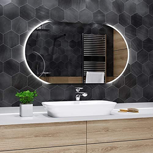 Alasta Spiegel | Baltimore Badspiegel 90x60cm mit LED Beleuchtung | Wandspiegel Badezimmerspiegel | Spiegel nach Maß | LED Farbe Kaltweiß | Wähle eine Variante