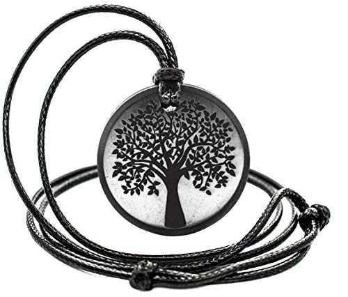 Shungite Pendant Engraving Sacred Geometry EMF Neutralizer Circle The Tree of Life