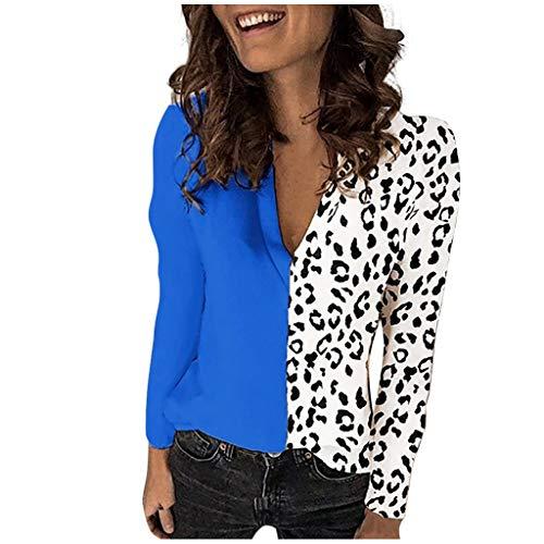 Best Deals! Fammison Womens Casual Loose V-Neck Leopard Print Long Sleeve Patchwork T-Shirt Tops